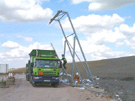 Accessing lorry via ladder attached to overhead fall arrest system